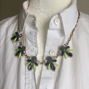J Crew blue, grey, and green crystal necklace